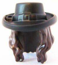 LEGO - Minifig, Headgear Hair Long Wavy with Black Hat w/ Buckle Pattern