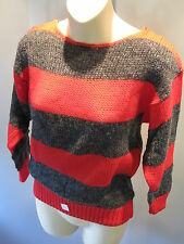 729af9439a Nos Vintage New Wave Retro 1980s 2 Tone Red Charcoal Striped Knit Sweater  Top S