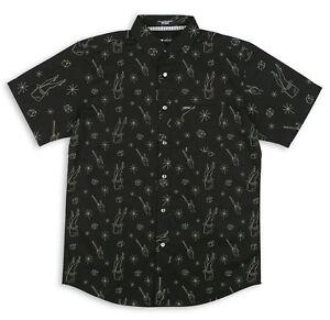 Matix Abrakadabra Hombre Botón Frontal Camisa Manga Corta Mediano Negro Nuevo