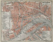 ROTTERDAM antique town city stadsplan. Netherlands kaart. BAEDEKER 1910 map