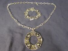 "Vintage Signed Sarah Coventry "" Cancer the Crab Zodiac "" Necklace & Bracelet Set"
