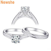 Newshe Wedding Engagement Ring Set 1.7ct Round AAA Cz 925 Sterling Silver 5-10