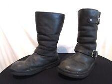 Australia 5678 Kensington Black Leather Shearling Motorcycle Boots Women Size 6
