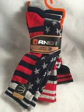 New 3 Pair AND 1 Men's Socks America Flag American Gift Shoe Size 6-12.5 Crew