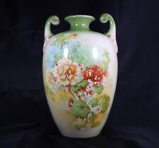 Antique Porcelain Amphora Vase Floral Victorian Floral Painted Gilt