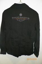 Harley Davidson Womens Black Shirt Button Up Long Sleeve Embroidered Size Large