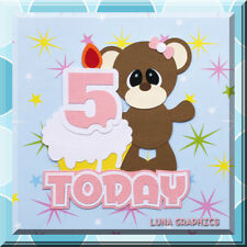 FIVE TODAY GIRL Bear  Embellishments Paper Piecing card toppers scrapbooking