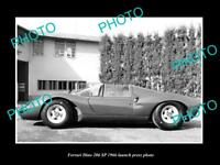 OLD LARGE HISTORIC PHOTO OF FERRARI DINO 206 SP 1966 LAUNCH PRESS PHOTO 1