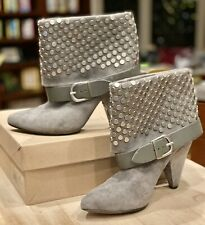 ROSEGOLD 'Halle' Gray Suede Studded Cuffed Leather Ankle Boots/Booties 8.5/38.5