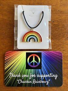 Rainbow Pendant Necklace ❤️🧡💛💚💙💜 Gay Pride Hippie Festival
