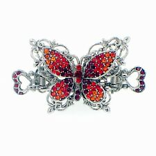 VINTAGE BUTTERFLY HAIR CLAW CLIP HAIRPIN USE SWAROVSKI CRYSTAL ELEGANT  RED