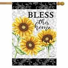 """Bless This Home Sunflowers Summer House Flag Floral 28"""" x 40"""" Briarwood Lane"""