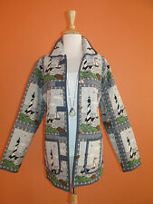 Blair Womens Size M/L Sailboat & Lighthouse Nautical Tapestry Jacket Blazer