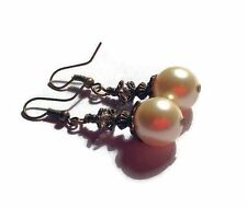 Vintage style large CHAMPAGNE/CREAM shell pearl & Swarovski bronzetone earrings