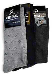 3 Pairs of Men's Cotton Rich Assorted Colour Socks Black Size 9/12 Eu 43/46