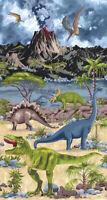 Dinosaur Jurassic Scenic Volcano Trees  Fabric Panel Timeless Treasures
