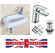 Square Small Mini Cloakroom Bathroom Basin Sink Wall Mounted Right Hand 41x21cm
