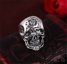 men's Stainless Steel Silver Mens Punk Pirate Evil Skull Cool Rings Size 8