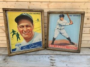 Antique Style Lou Gehrig 1933 Goudey Baseball Wood Display Signs Get Both 12x16
