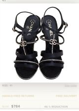 PRELOVED AUTHENTIC CHANEL BLACK CC CRYSTAL EMBELLISHED STAPPY SANDALS Size 6