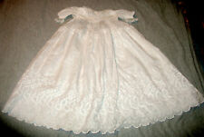 Vintage Antique Baby Christening Gown White Cotton w Lace & Embroidery