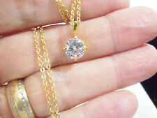 CZ Solitaire ROUND Clear Gold Plated Pendant Chain Necklace Zirconia Ice SPARKLE