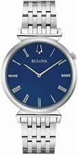 Bulova Regatta Blue Dial Silver Stainless Steel Bracelet Mens Watch 96A233