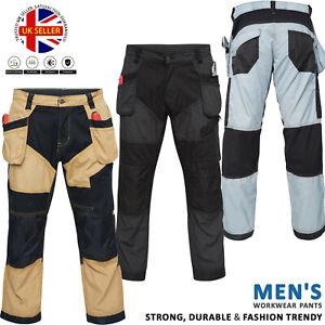Mens Work Trousers Worker Wear Cargo Multi Pockets Cordura Working Safety Pants