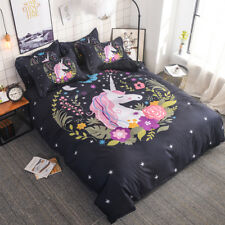 3D Kids Flower Star Unicorn Bedding Set Duvet Cover Comforter Cover Pillow Case