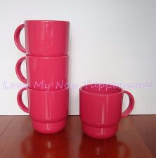 Tupperware Tabletop Stackable Mugs Set of 4 NOS Rare Color Dark Dusty Rose NEW