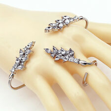 Lady Fairy Crystal Zircon Finger Ring+Cuff Bracelet Bangle Jewelry Set Beauty CA