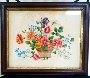 Rare Early 1830 19thc American Folk Art Theorem painting Signed Flowers basket