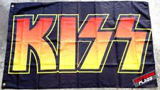 KISS Flag Banner 3x5 ft Rock Music Band Wall Garage Black