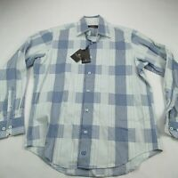 Bugatchi Uomo Mens Button Front Casual Shirt Check Pattern Blue Small NWT $145