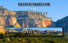 "Train Junkies O Scale ""Southwest"" Model Railroad Backdrop 24'x144"""