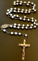 Vintage 5 Decade Stainless Steel Rosary, Jesus Center, SilverTone Crucifix Italy