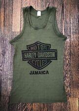 3f3882ca Vintage 80s HARLEY DAVIDSON Jamaica Army Green Tank Top Shirt S SOFT THIN  Biker