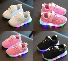 Flash LED Children Baby Toddler Kids Light Up Trainers Lace Up Shoes Luminous