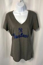 New York Yankees Women's Large V-Neck Blue Sparkle Logo Short Sleeve T-Shirt