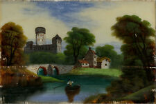 Late 19th Century Reverse Glass Painting - River Landscape with Castle