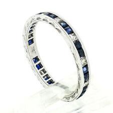 Vintage 18k White Gold 1.07ctw Sapphire & Diamond Engraved Eternity Band Ring