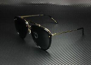 GUCCI GG0672S 001 Aviator Black Shiny Gold Grey 58 mm Men's Sunglasses