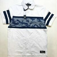 Hudson Outerwear men's LARGE SS collar/polo 100%AUTHENTIC White Army Multicolor