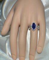 7 CARAT PREMIUM AAA TANZANITE & 76 FLAWLESS DIAMONDS GYPSY 14K WHITE  GOLD FILL