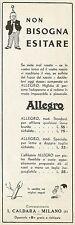 Y0099 Affilatoio lame da barba ALLEGRO - Pubblicità 1938 - Advertising