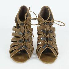 Manolo Blahnik Brown Hair Lace Up High Heel Sandals Shoes Womens Sz 39 / US 9