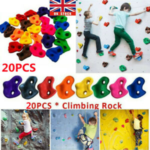 20Pcs Textured Resin Bolt On Climbing Frame Rock Wall Grab Holds Grip Stones
