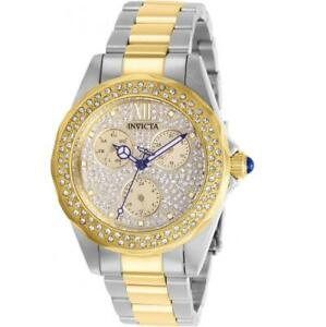 Invicta Angel 28433 Womens Two-Tone Multifunction Crystals Bezel Pave Dial Watch