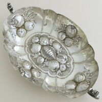 1895 Antique Victorian English Sterling Silver Fruit Serving Bowl Dish Embossed