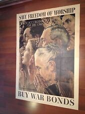WWII 1943 Save Freedom of Worship (Original) Norman Rockwell US Gov (Very Rare)